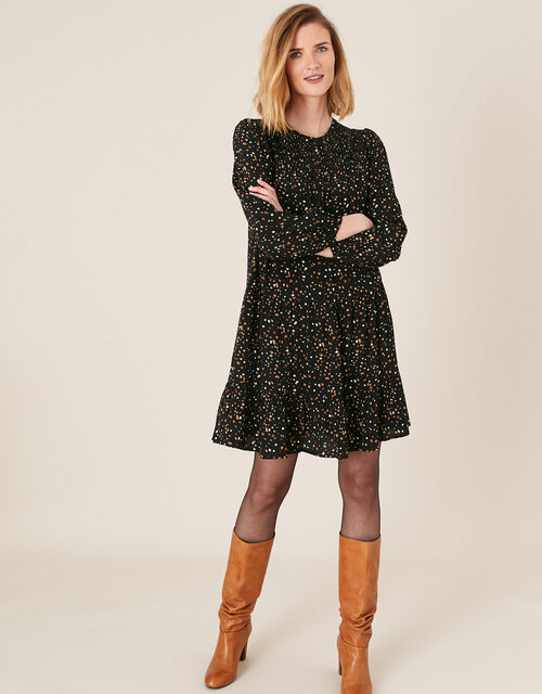 Spot Print Tiered Dress with LENZING™ ECOVERO™, Black (BLACK), large