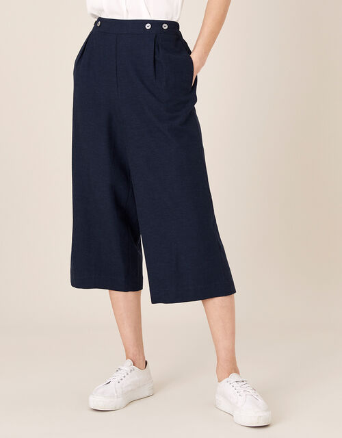 Cropped Trousers in Linen Blend, Blue (NAVY), large