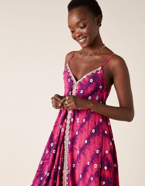 Sequin Embroidered Tie-Dye Dress Purple, Purple (PURPLE), large
