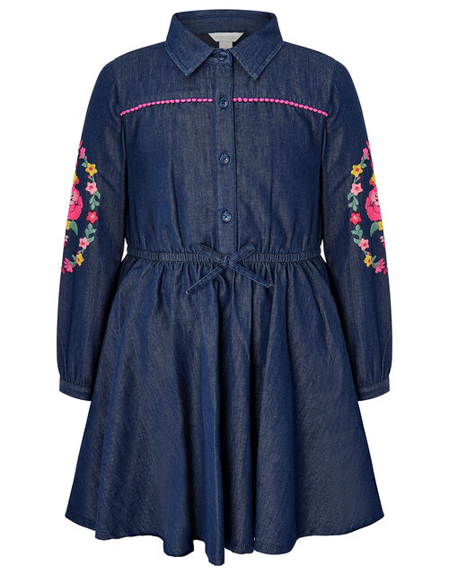 Floral Embroidery Chambray Shirt Dress, Blue (BLUE), large