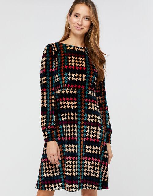 Harriet Houndstooth Velvet Dress, Black, large
