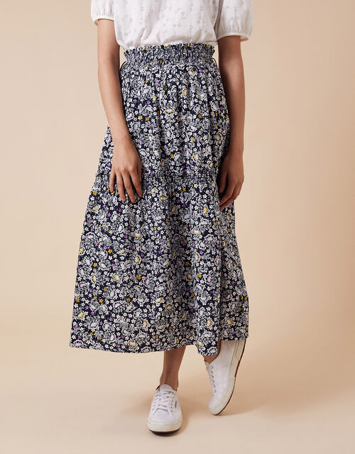 Floral Print Midi Skirt in Organic Cotton, Blue (NAVY), large
