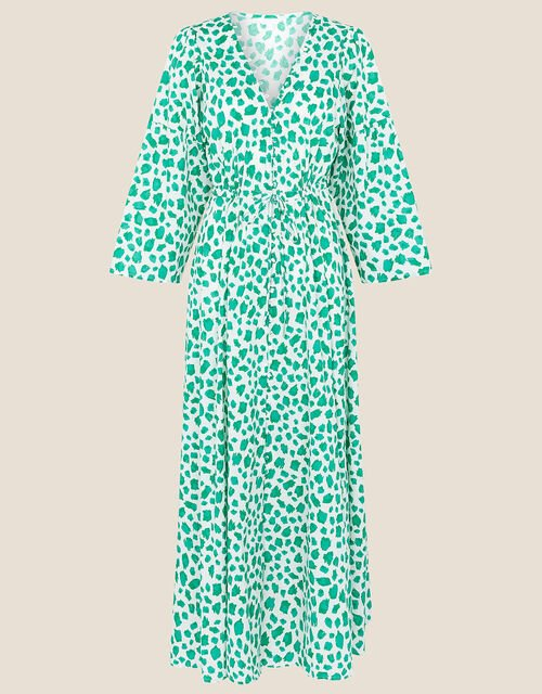 Animal Print Dress in Pure Cotton, Green (GREEN), large
