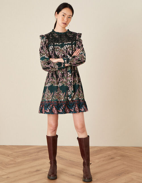 Embroidered Chest Printed Dress, Black (BLACK), large