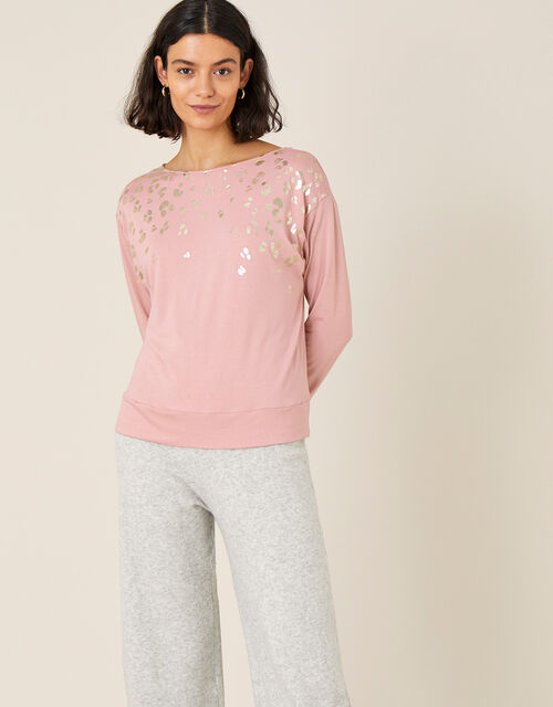 Anica Jersey Animal Foil Dolman Top , Pink (PINK), large