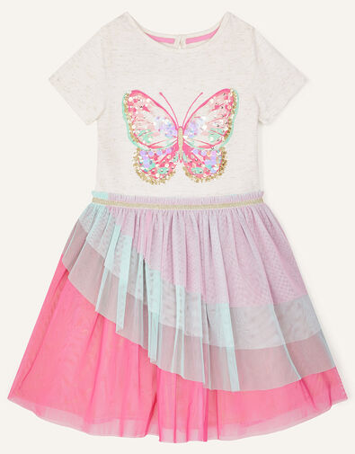 Butterfly Ruffle Disco Dress Pink, Pink (PINK), large