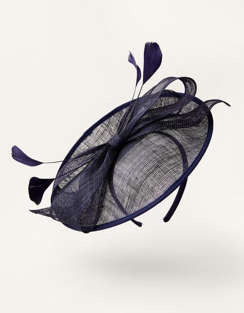 Bow Disc Fascinator , Blue (NAVY), large
