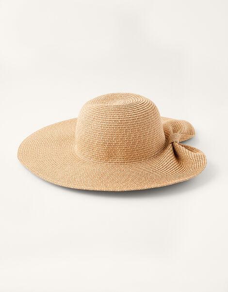 Bow Wide Brim Straw Hat , , large