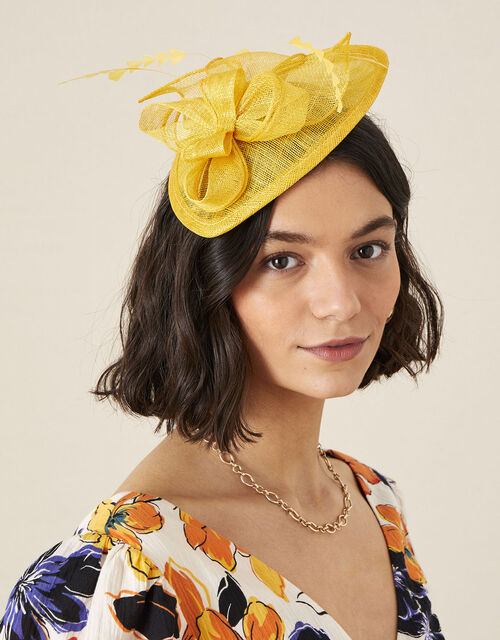 Bow Small Disc Fascinator Headband, Yellow (OCHRE), large