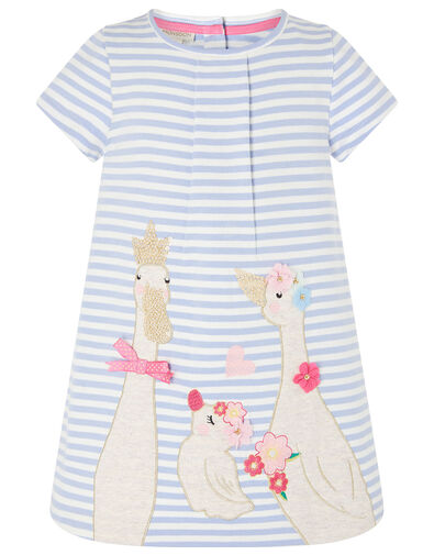 Baby Duckie Sweat Dress in Organic Cotton  Blue, Blue (BLUE), large