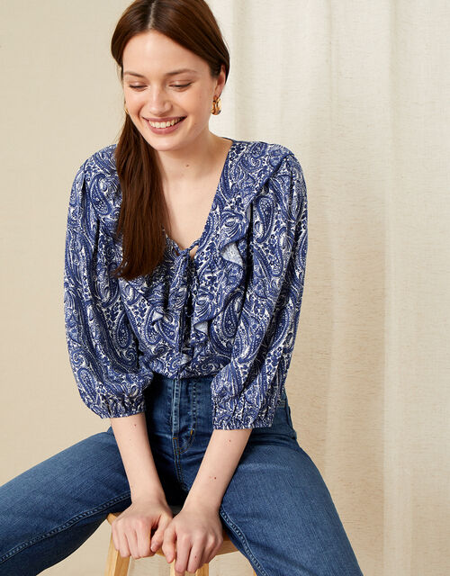 Paisley Ruffle Neck Top, Blue (BLUE), large