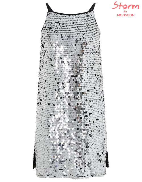 Sabella All-Over Sequin Dress, Silver (SILVER), large
