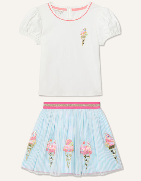 Disco Ice-Cream Top and Skirt Set  Blue, Blue (BLUE), large