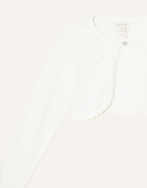 3D Flower Cardigan, Ivory (IVORY), large