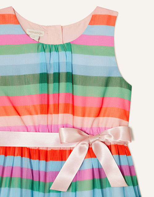 Desert Stripe Chiffon Dress, Pink (PALE PINK), large