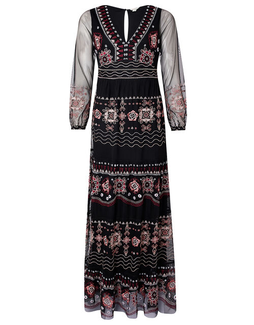 Atelier Heather Embroidered Maxi Dress, Black (BLACK), large