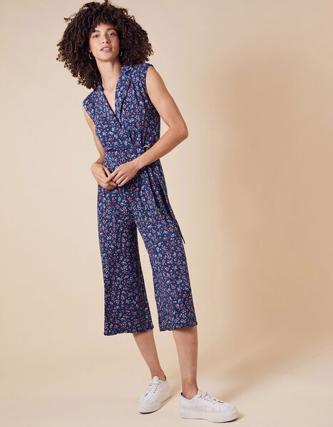 Dione Ditsy Floral Jersey Jumpsuit Blue, Blue (NAVY), large
