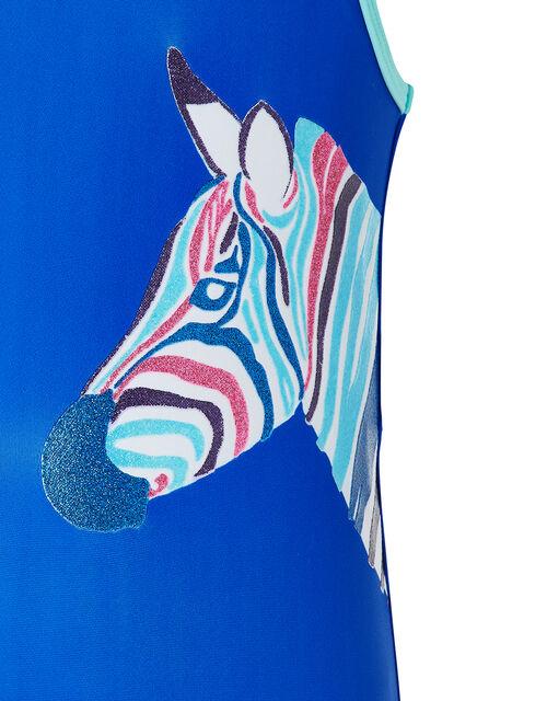 Zori Glitter Zebra Swimsuit, Blue (BLUE), large
