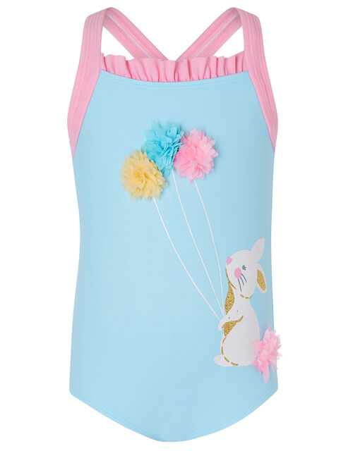 Baby Bunny 3D Flower Swimsuit, Blue (TURQUOISE), large