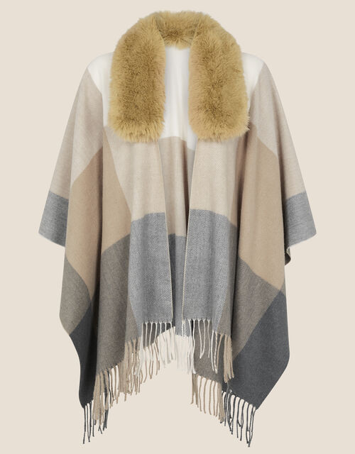 Faux Fur Collar Check Wrap Cover-Up, , large