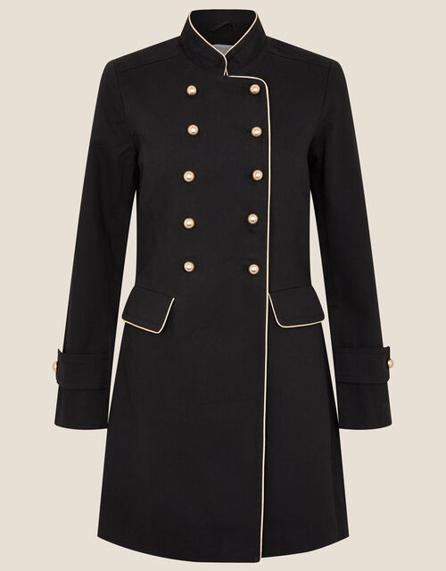 Melinda Longline Military Jacket, Black (BLACK), large