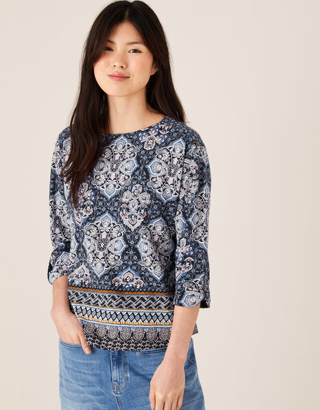 Rowan Heritage Print Top in Organic Cotton Blue, Blue (NAVY), large