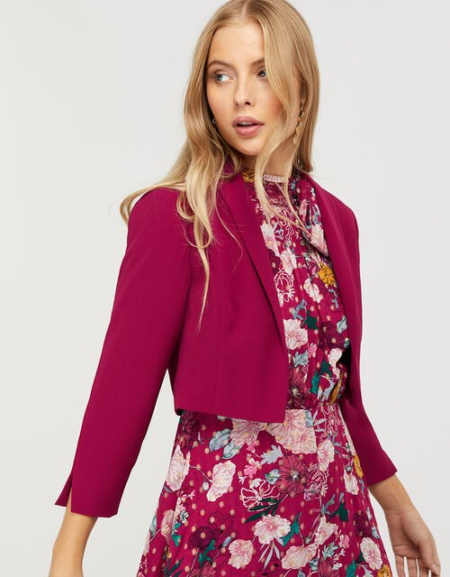 Juni Sustainable Cropped Smart Jacket, Red (BERRY), large
