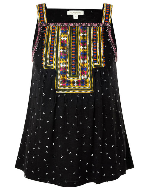 Malakai Embroidered Jersey Cami Top, Black (BLACK), large