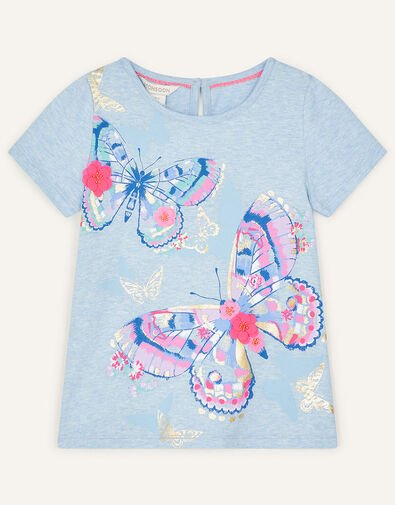 Butterfly T-Shirt in Organic Cotton Blue, Blue (BLUE), large