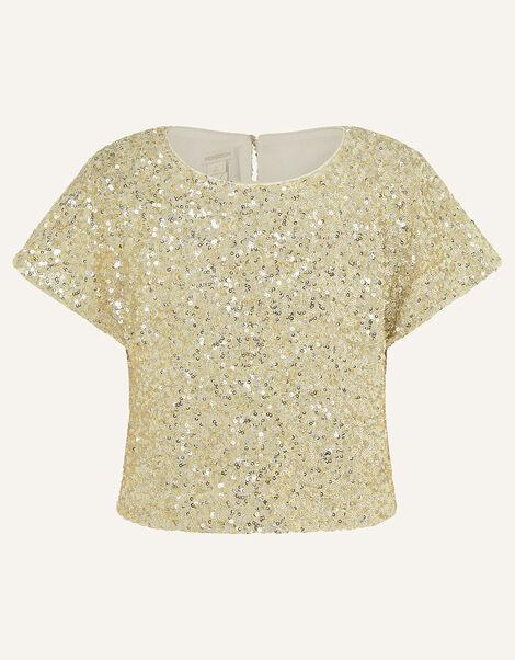 Sequin Flutter Sleeve Top Gold, Gold (GOLD), large