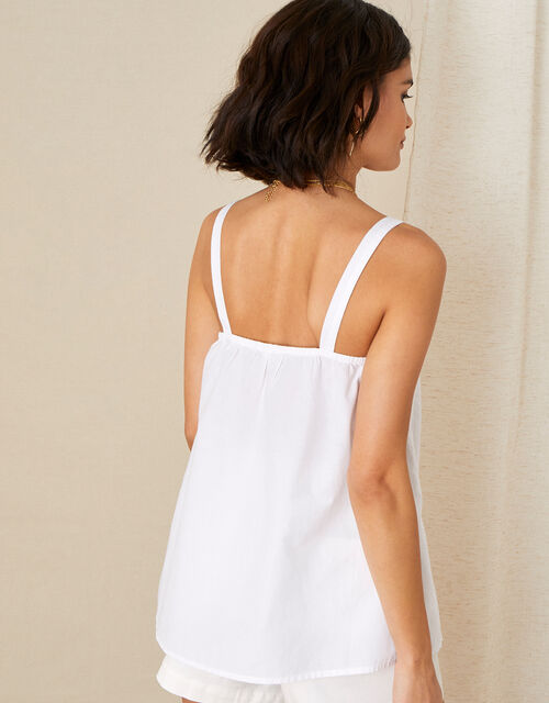 Lace Trim Cami in Organic Cotton, Ivory (IVORY), large
