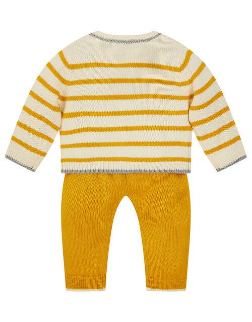 Newborn Bear Stripe Knit Set, Yellow (MUSTARD), large