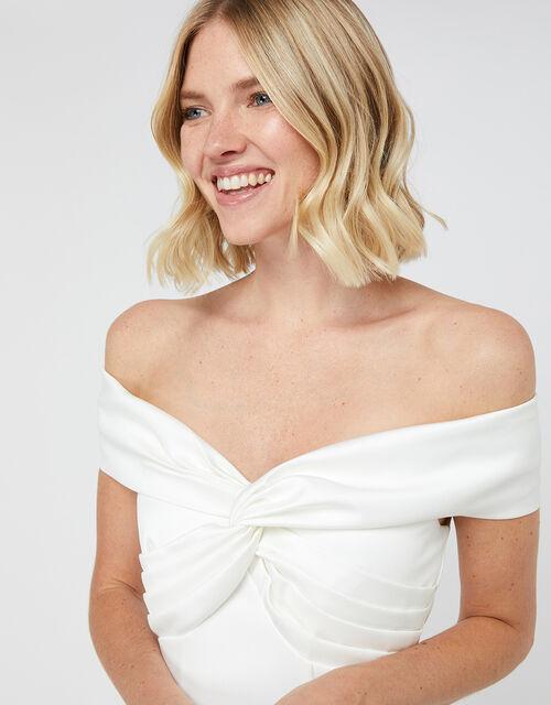 Hannah Bridal Bardot Satin Maxi Dress, Ivory (IVORY), large