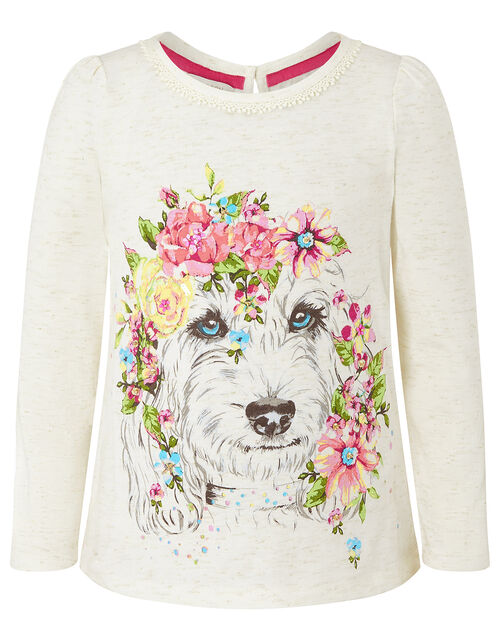 Dog Print Top in Organic Cotton, Ivory (IVORY), large