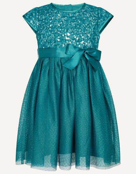 Baby Paige Sequin Dress Teal, Teal (TEAL), large