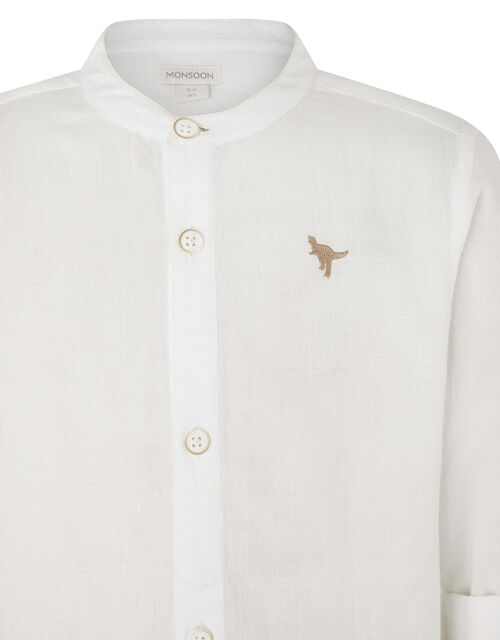Toby Shirt with Embroidered Dinosaur, Ivory (IVORY), large