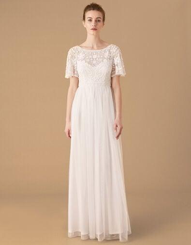 Shelly Floral Embellished Bridal Dress Ivory, Ivory (IVORY), large