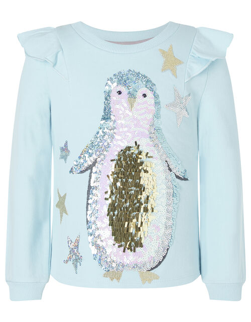 Sequin Penguin Christmas Top in Organic Cotton, Blue (BLUE), large