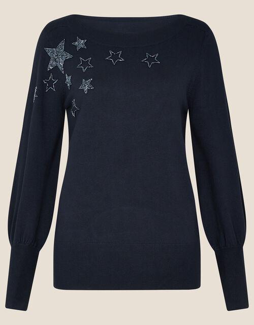 Beaded Star Jumper, Blue (NAVY), large
