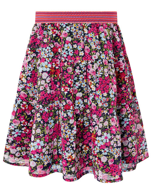 Ditsy Floral Midi Skirt in Recycled Fabric, Pink (PINK), large