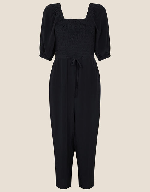 Fleur Shirred Drawstring Jumpsuit, Black (BLACK), large