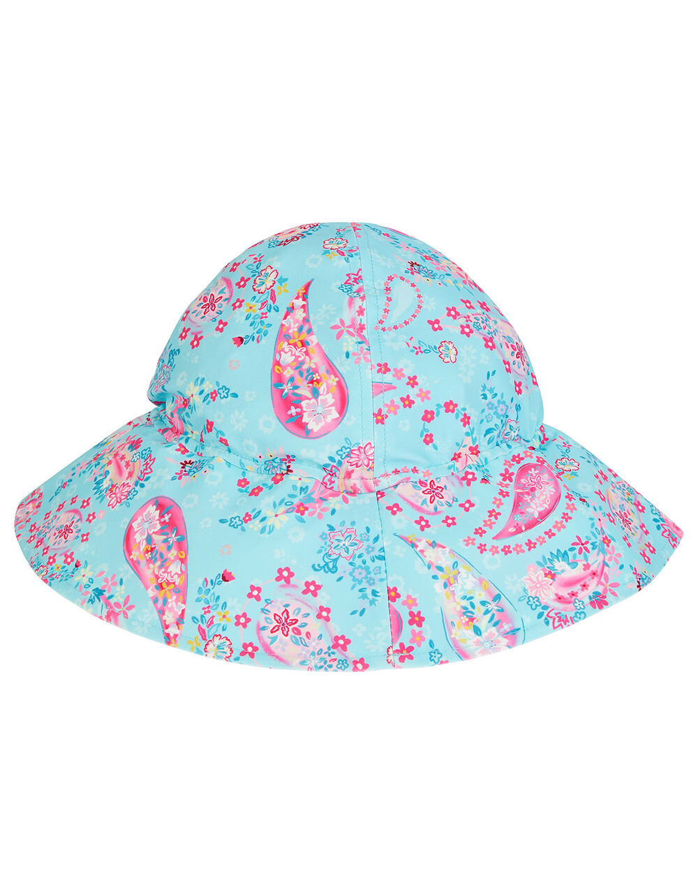 Baby Paisley Print Sun Hat, Blue (TURQUOISE), large
