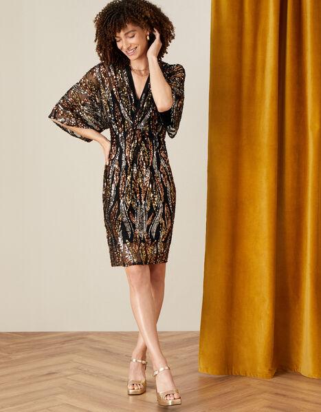 Sloane Embellished Twist Dress Black, Black (BLACK), large