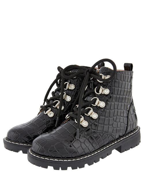 Patent Croc Lace-Up Ankle Boots, Black (BLACK), large