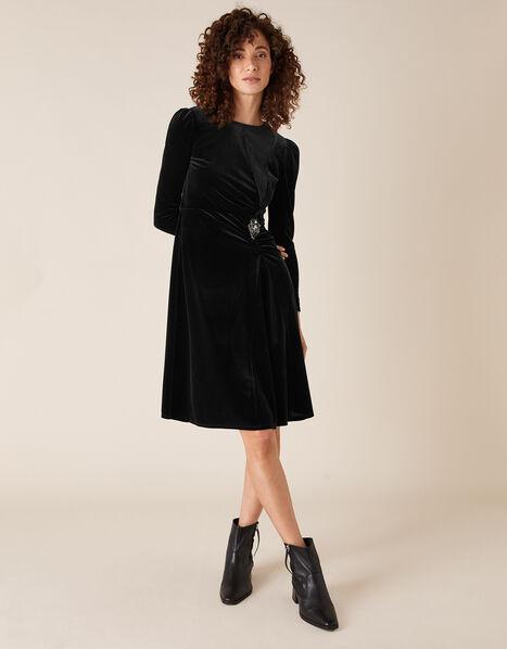 Hannah Crystal Brooch Stretch Velvet Dress Black, Black (BLACK), large