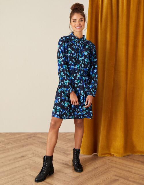 Ditsy Print Short Shirt Dress, Black (BLACK), large