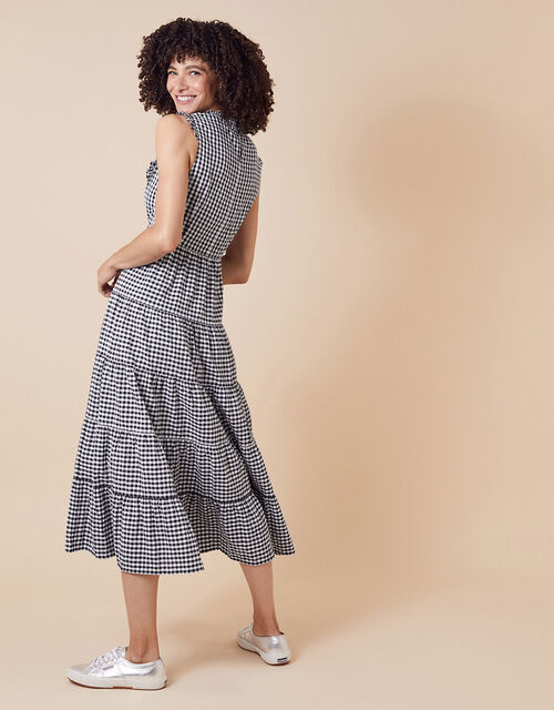 Gingham Tiered Midi Dress in Organic Cotton, Black (BLACK), large