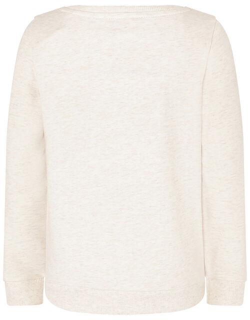 Sequin Unicorn Sweatshirt in Organic Cotton, Camel (OATMEAL), large