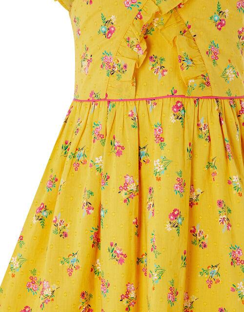 Grace Floral Ruffle Dress in Organic Cotton, Yellow (YELLOW), large