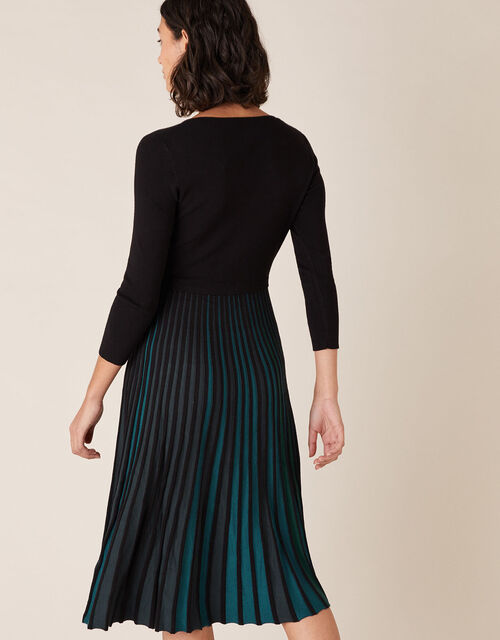 Pleated Colour Insert Midi Dress, Black (BLACK), large